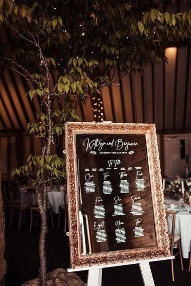 Mirrored Table Plan For Barn Wedding