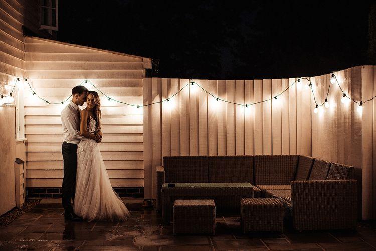 Fairy Lights At Barn Wedding