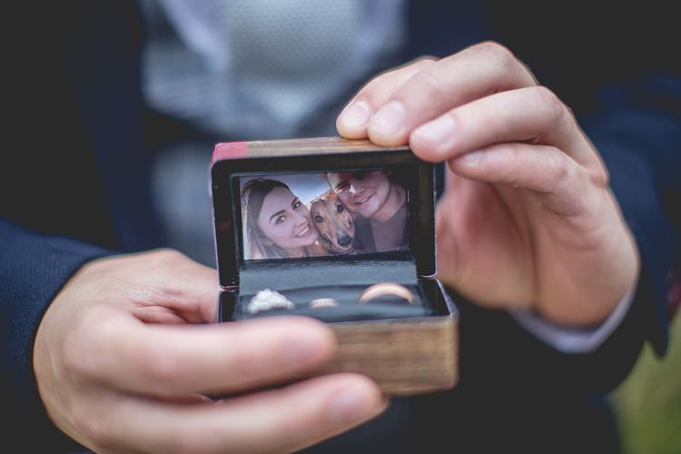 Personalised ring box at Newton Hall wedding