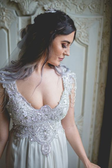 Anna Campbell wedding dress for Newton Hall wedding