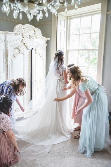Bridal preparations for Newton Hall wedding