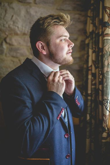 Groom preparations for Newton Hall wedding