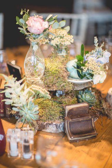 Tea party wedding table decor at Newton Hall