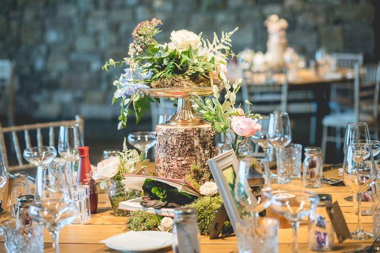 Rustic wedding table decor at Newton Hall