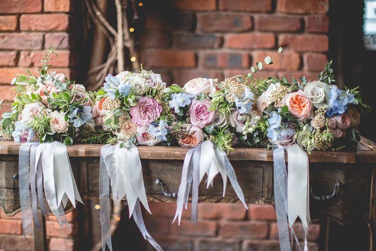 Pastel flower wedding bouquet