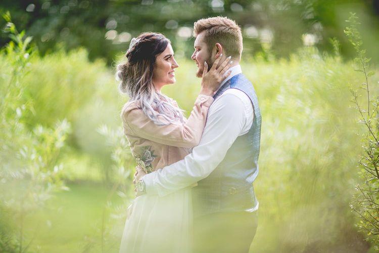 Bride and groom at Newton Hall wedding venue