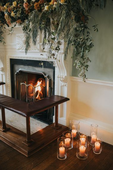 Fire and Candles For Winter Wedding at Oxfordshire Wedding Venue