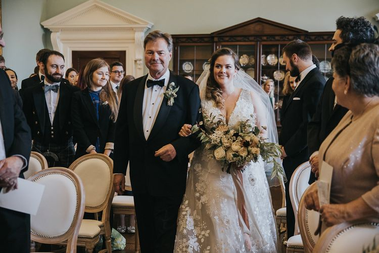 Bride Walking Down The Aisle With Father at Oxfordshire Wedding Venue