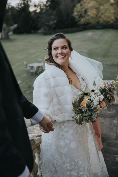 Bridal Faux Fur Cover Up For Winter Wedding