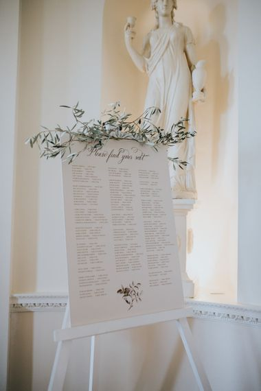 Wedding Sign For Table Seating Plan With Foliage Decor