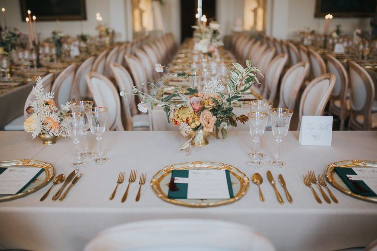 Table Place Setting For Winter Wedding With Gold Detail