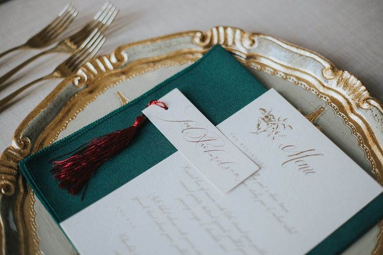Wedding Stationery Place Setting With Tassle Name Tags