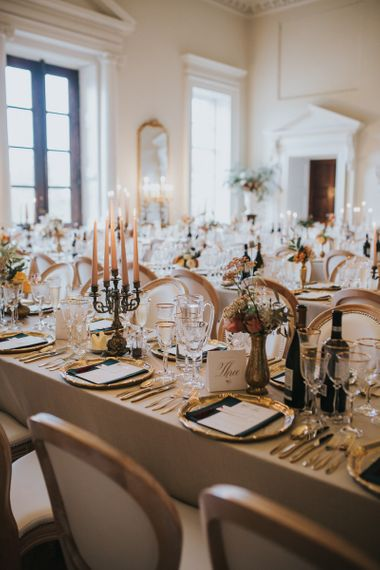 Candle Lit Wedding Table Decor With Gold Detail at Oxfordshire Wedding Venue