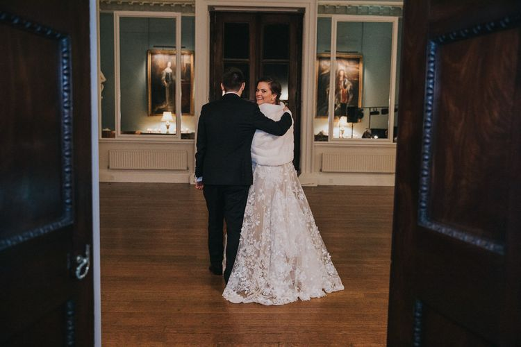 Bride Wears Gemy Maalouf Wedding Dress With Faux Fur Cover Up
