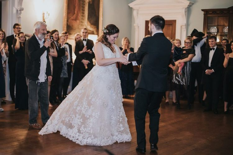 Bride and Groom First Dance During Ceilidh at Kirtlington Park Wedding Venue