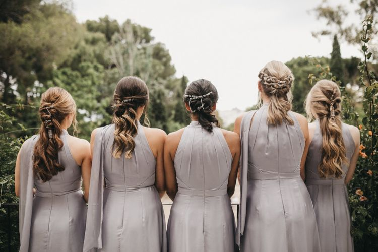 Bridesmaids in Grey Halterneck Dresses and Twisted Half Up Half Down Hairstyles