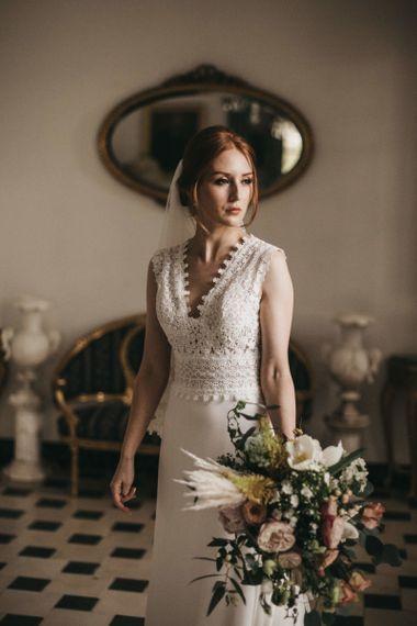 Beautiful Bride in Pronovias Wedding Dress with Lace Bodice