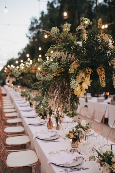 Hanging Floral Installation with Foliage, Pampas Grass and Lillies