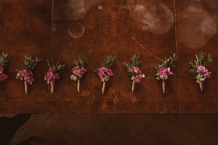 Pink Hydrangea and Foliage Buttonholes featured on escape to the chateau