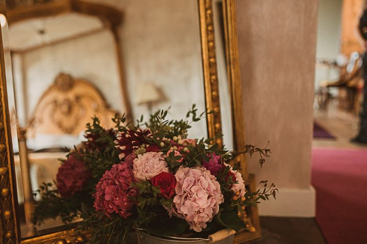 Pale Pink and Fuchsia Pink Hydrangea Wedding Flowers featured on escape to the chateau