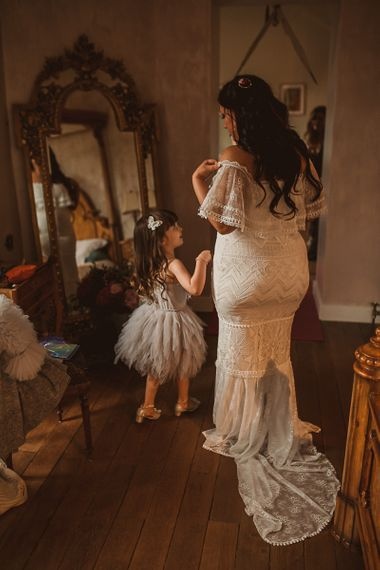 Bride in Emanuela Grace Loves Lace Off The Shoulder Wedding Dress and Daughter in a Tutu on the Wedding Morning