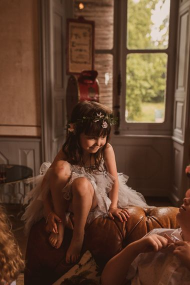 Little Flower Girl in Grey Tulle Tutu and Flower Crown
