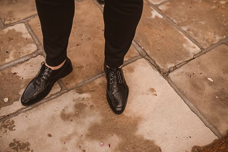 Groom in Winkle Picker Shoes with Croc Effect