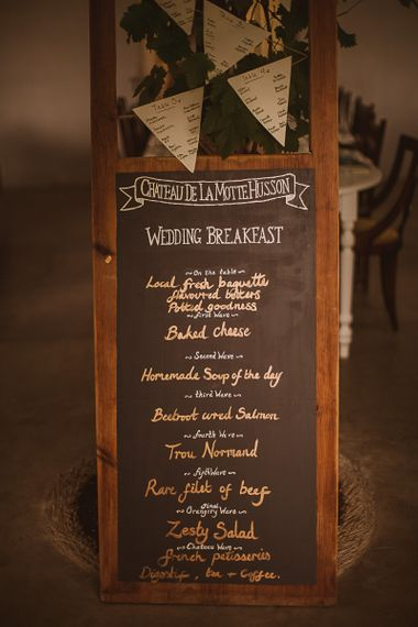 Chalkboard Menu Sign featured on escape to the chateau