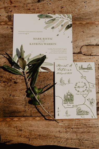 Green and White Wedding Stationery with Map