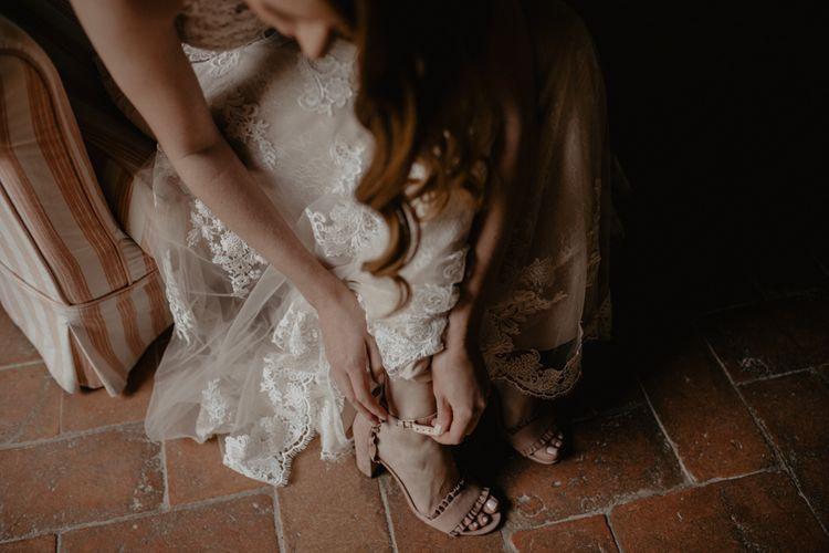 Blush Pink Kate Spade Block Heel Sandals with Frill Detail