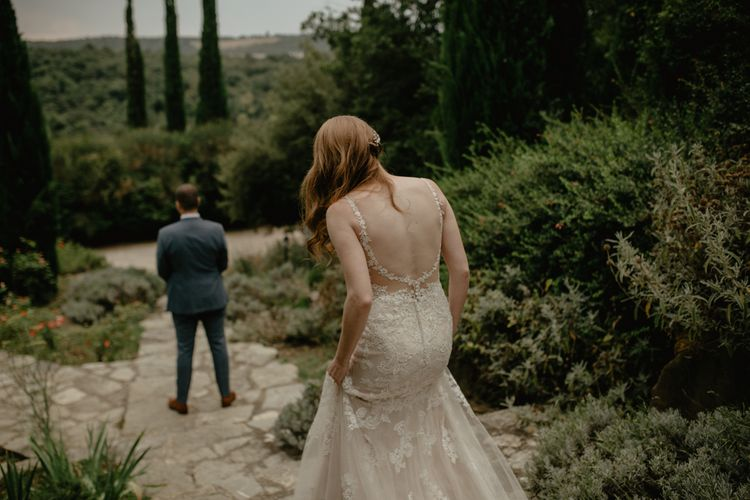 Bride and Groom First Look Moment with Bride in Lace Essense of Australia Bridal Gown