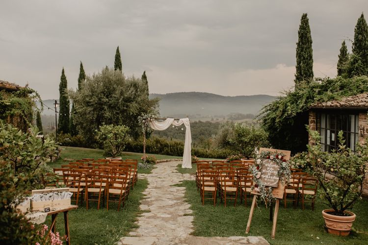Outdoor Wedding Ceremony Set Up in Tuscany