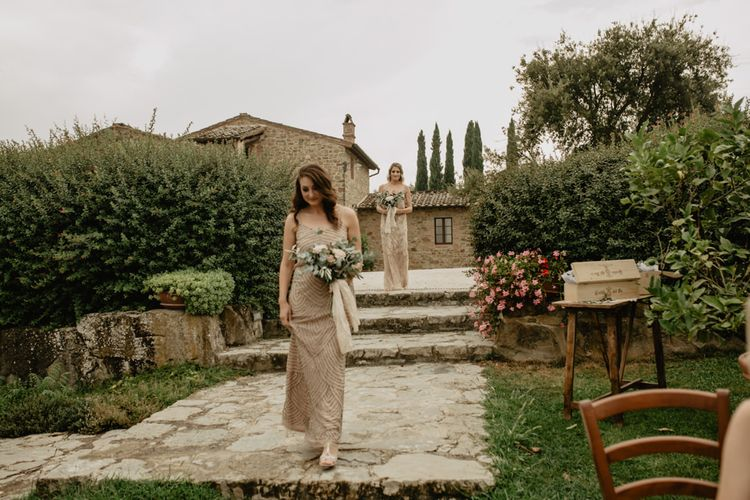 Wedding Ceremony Bridesmaid Entrance in Sequin  Adrianna Papell Dress