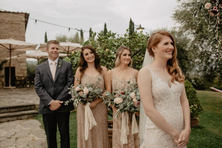 Outdoor Wedding Ceremony with Bridesmaids Entrance in Adrianna Papell Dresses