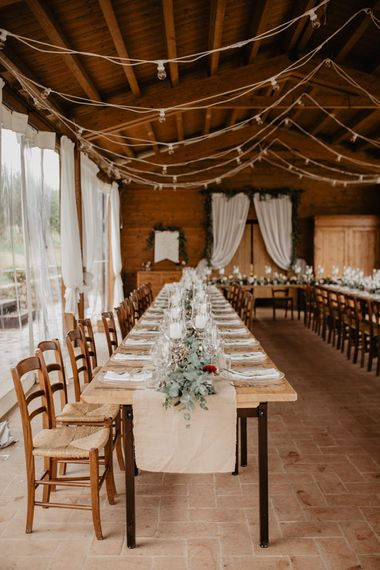 Wedding Reception with Drapes and Fairy Lights Decor