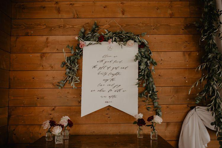 Calligraphy Flag Wedding Decor with Greenery Wedding Decor
