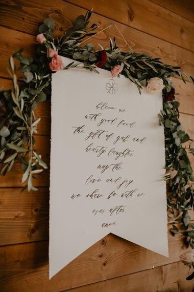 Script Wedding Decor Sign with Foliage Wedding Garland