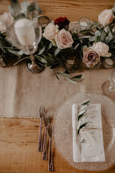 Place Setting with Beaded Place Mat & Floral Table Runner