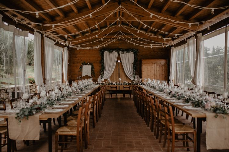 Tuscany Wedding Reception Decor with Floral Table Runner