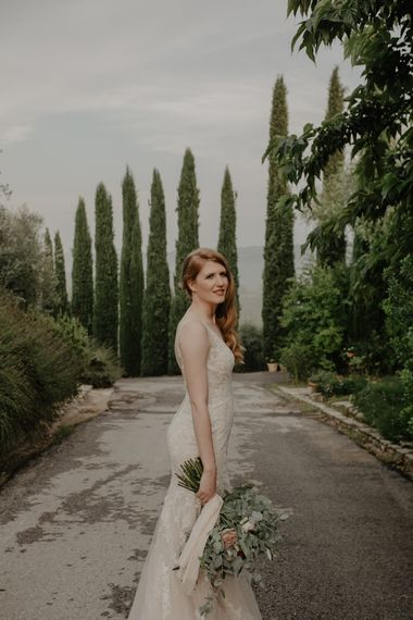Beautiful Bride in Lace Essense of Australia Wedding Dress