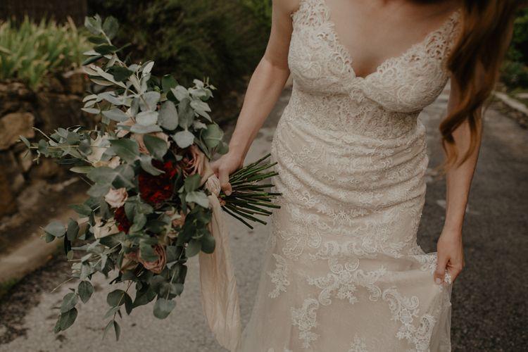 Lace Essense of Australia Wedding Dress and Eucalyptus Wedding Bouquet