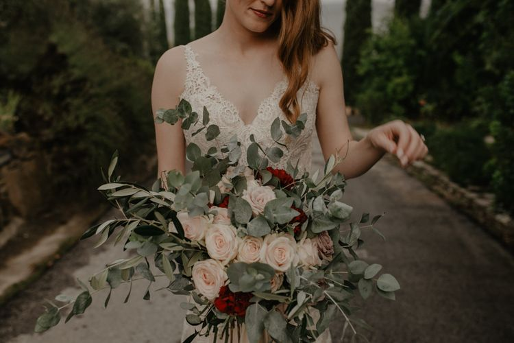 Eucalyptus and Pink Rose Bridal Bouquet