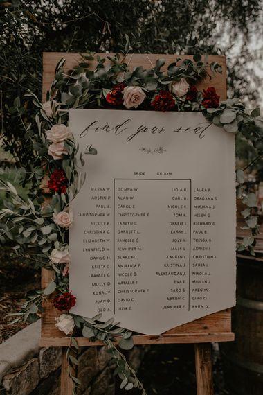 Script Flag Wedding Decor with Floral Garland Wedding Decor