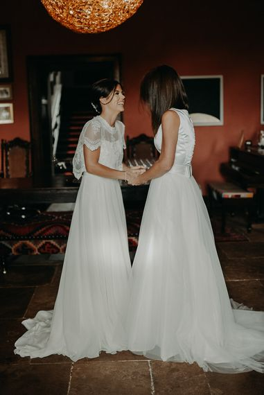 Same sex wedding with two bride in Chiffon, Tulle, lace and satin wedding dresses