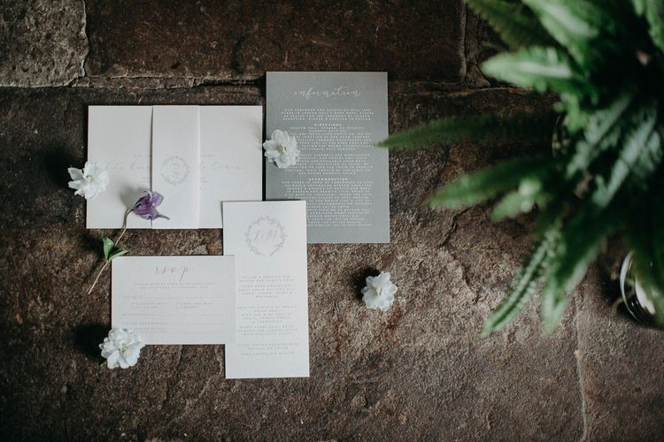 Romantic wedding stationery suite by Lilac and White