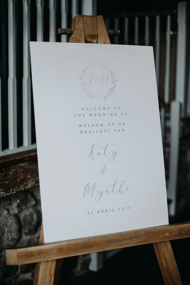 Wedding welcome sign on wooden easel