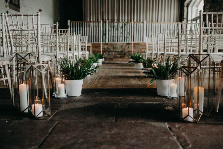 Aisle plant pot and candles ceremony decor
