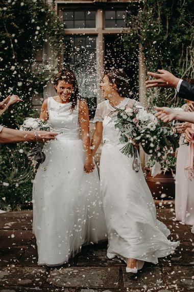 Confetti moment at lesbian wedding