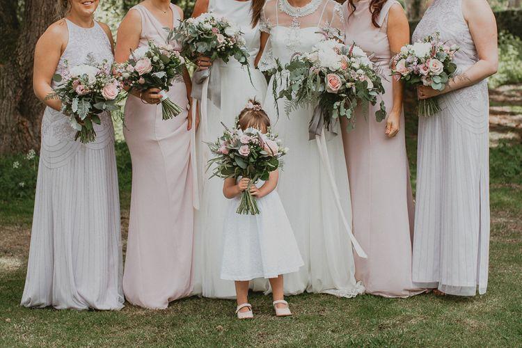 Bridal party pastel wedding bouquets