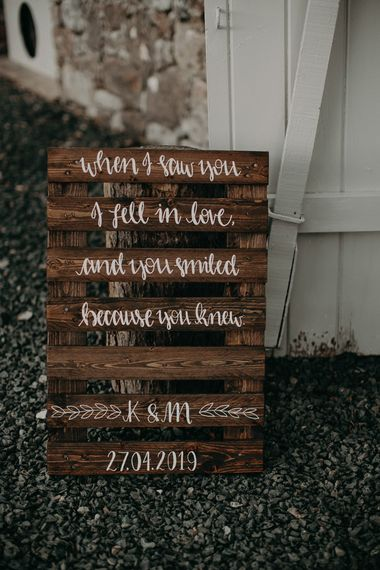 Wooden wedding sign with romantic quote